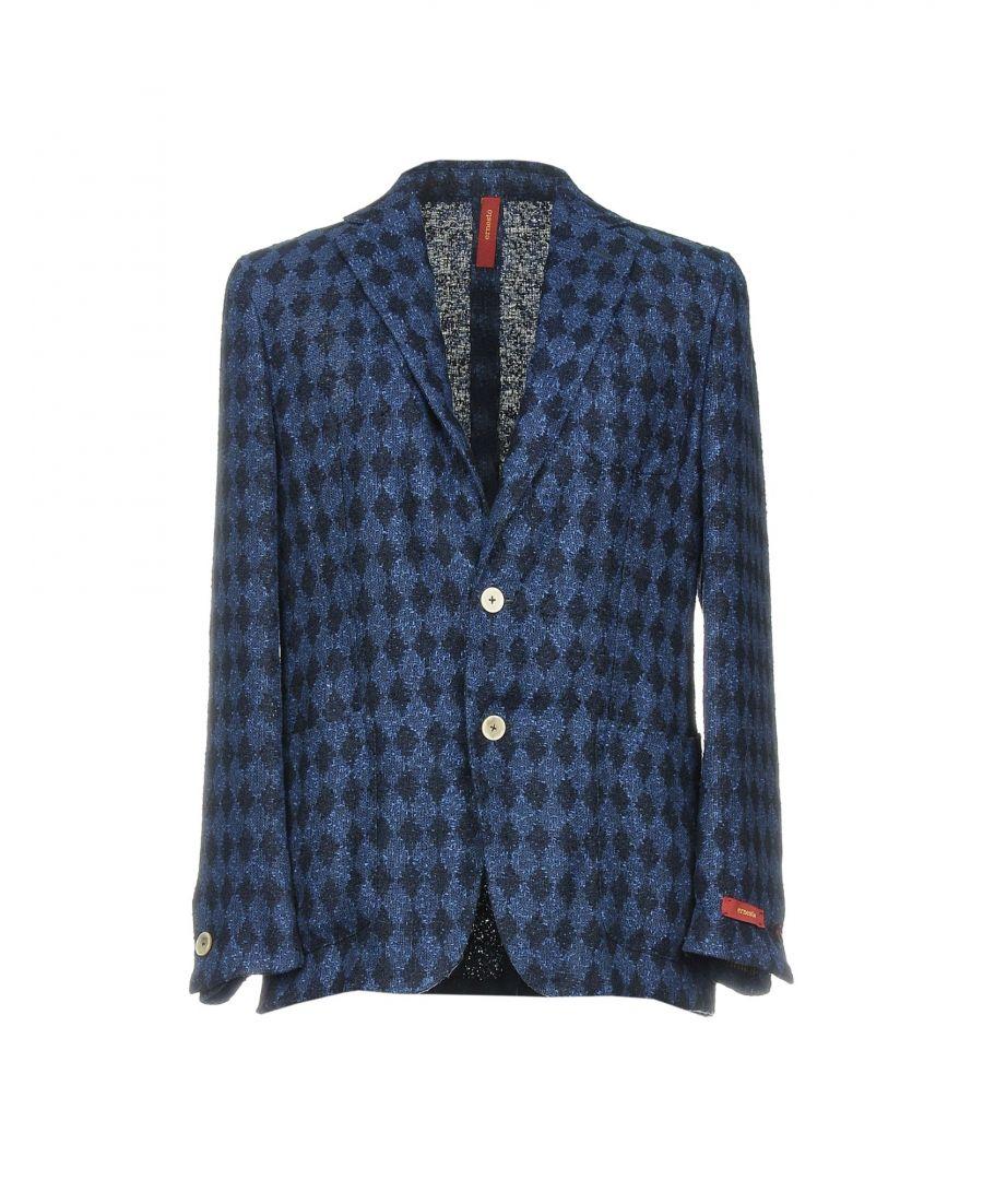 Image for Ernesto Dark Blue Tweed Geometric Design Linen Single Breasted Jacket