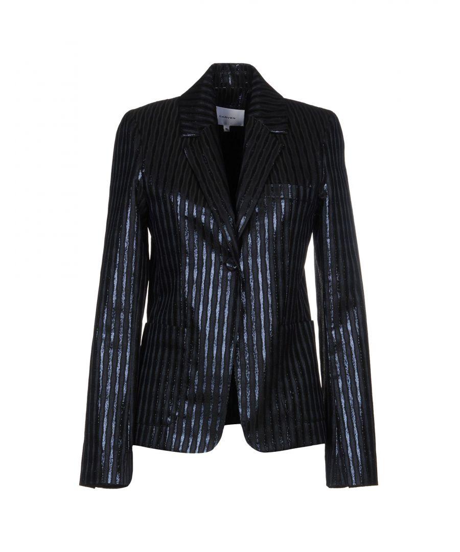 Image for Carven Dark Blue Lame Single Breasted Jacket
