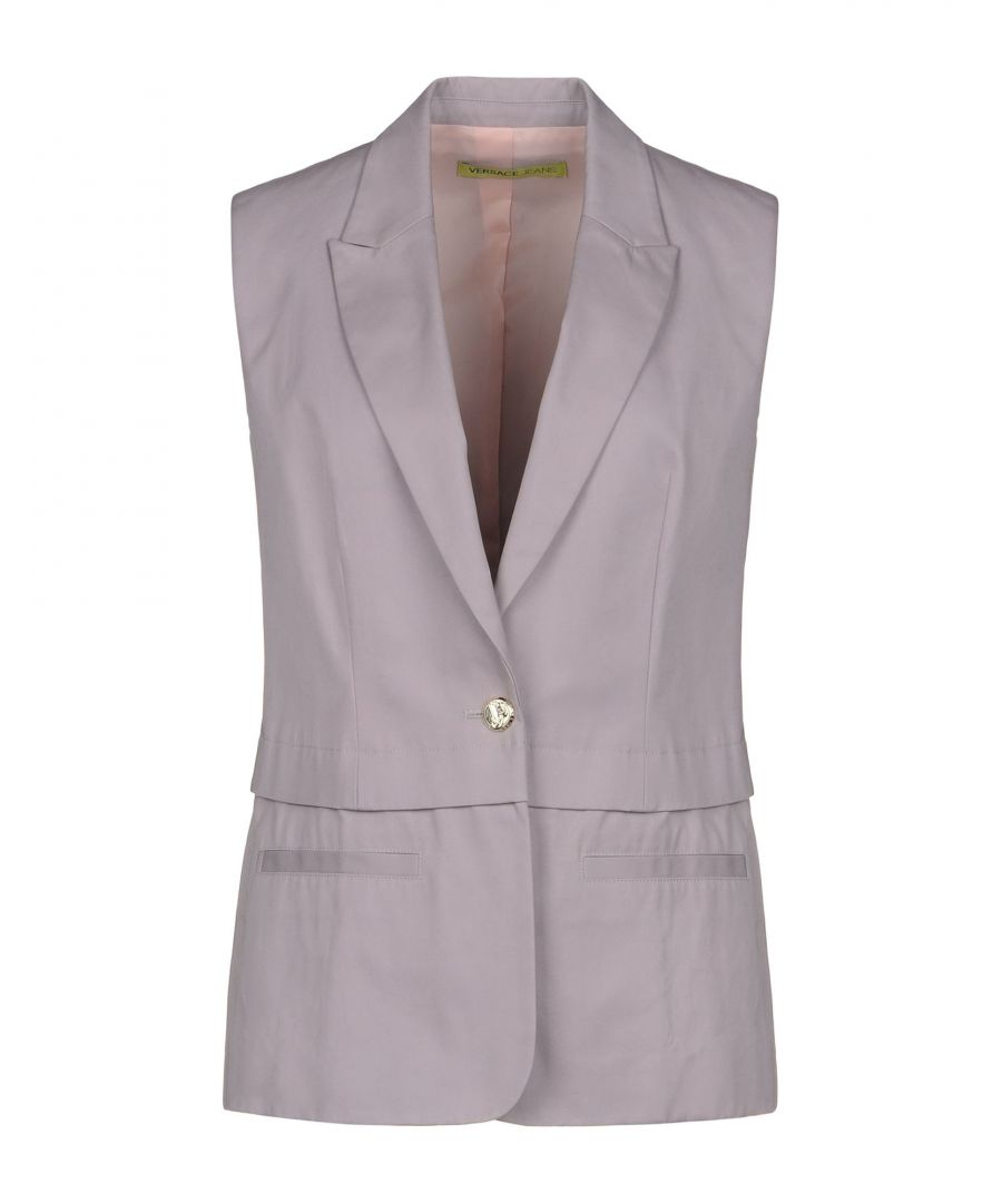 Image for Versace Jeans Dove Grey Cotton Single Breasted Sleeveless Blazer