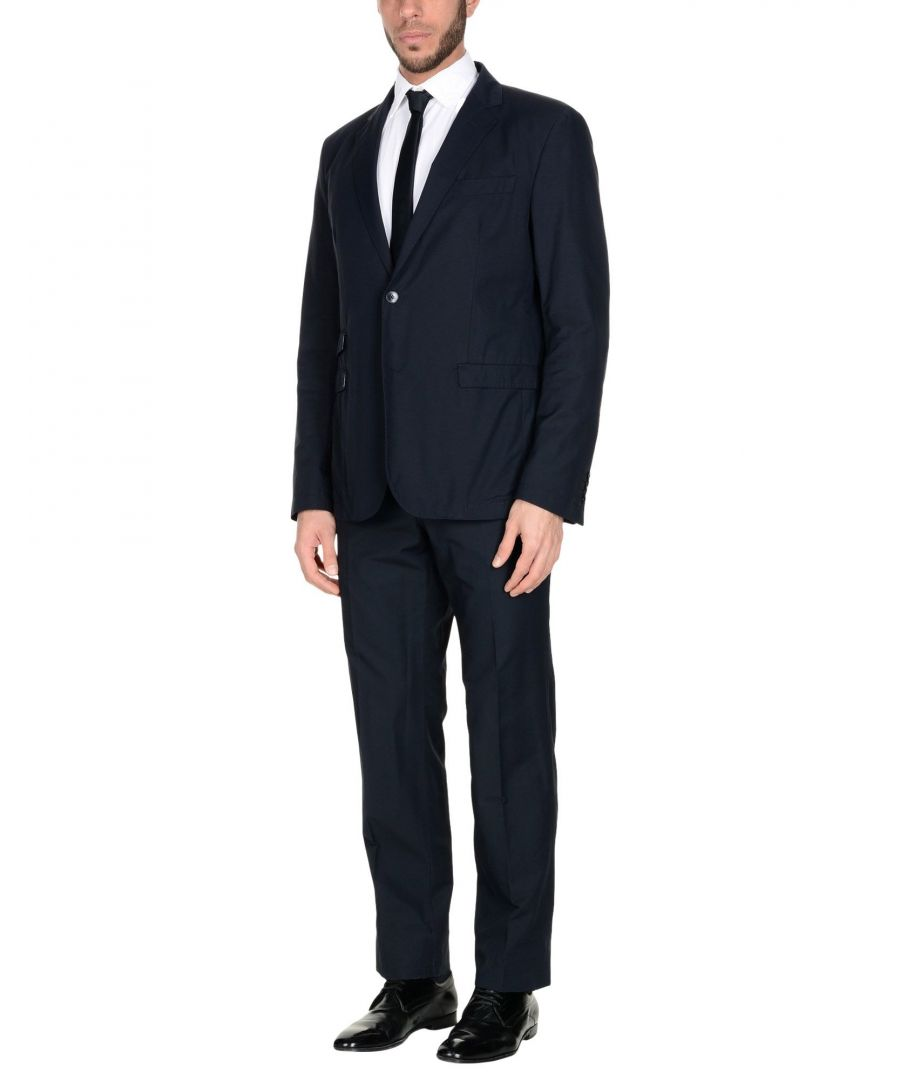 Image for Manuel Ritz White Dark Blue Cotton Single Breasted Suit