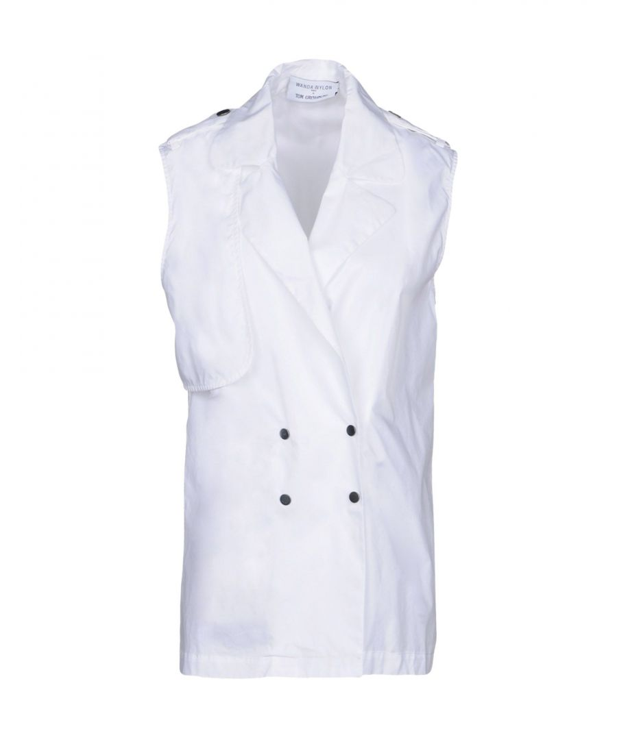 Image for Wanda Nylon White Cotton Sleeveless Double Breasted Blazer