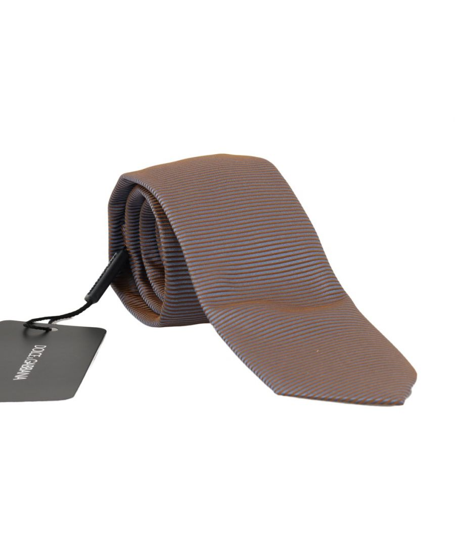 Image for Dolce & Gabbana Gray Gold Silk Striped Pattern Tie