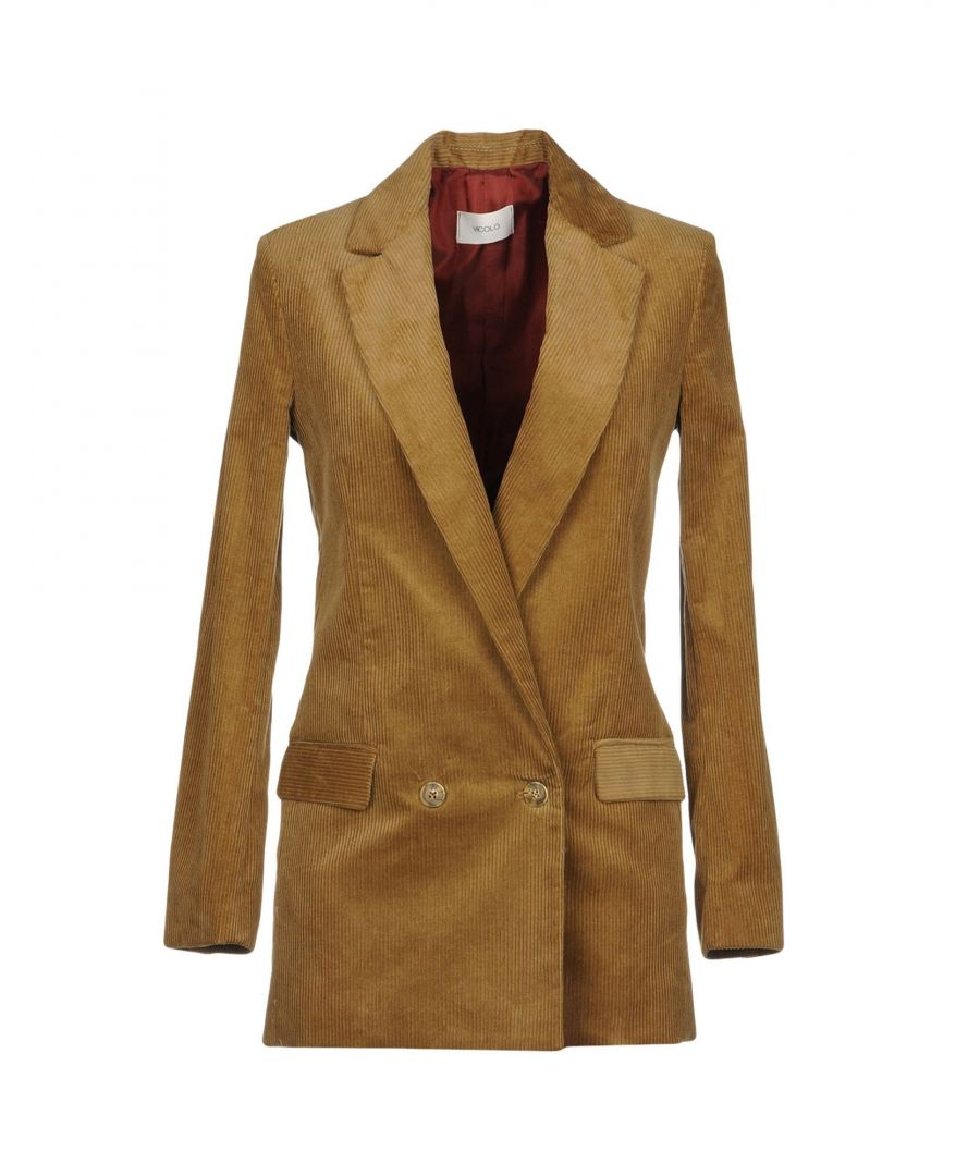 Image for Vicolo Beige Cotton Velvet Double Breasted Jacket
