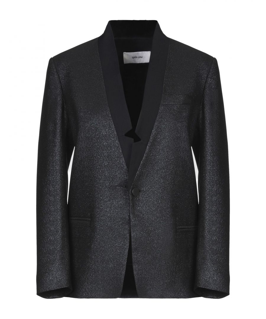 Image for Mauro Grifoni Black Cotton Lame Single Breasted Blazer