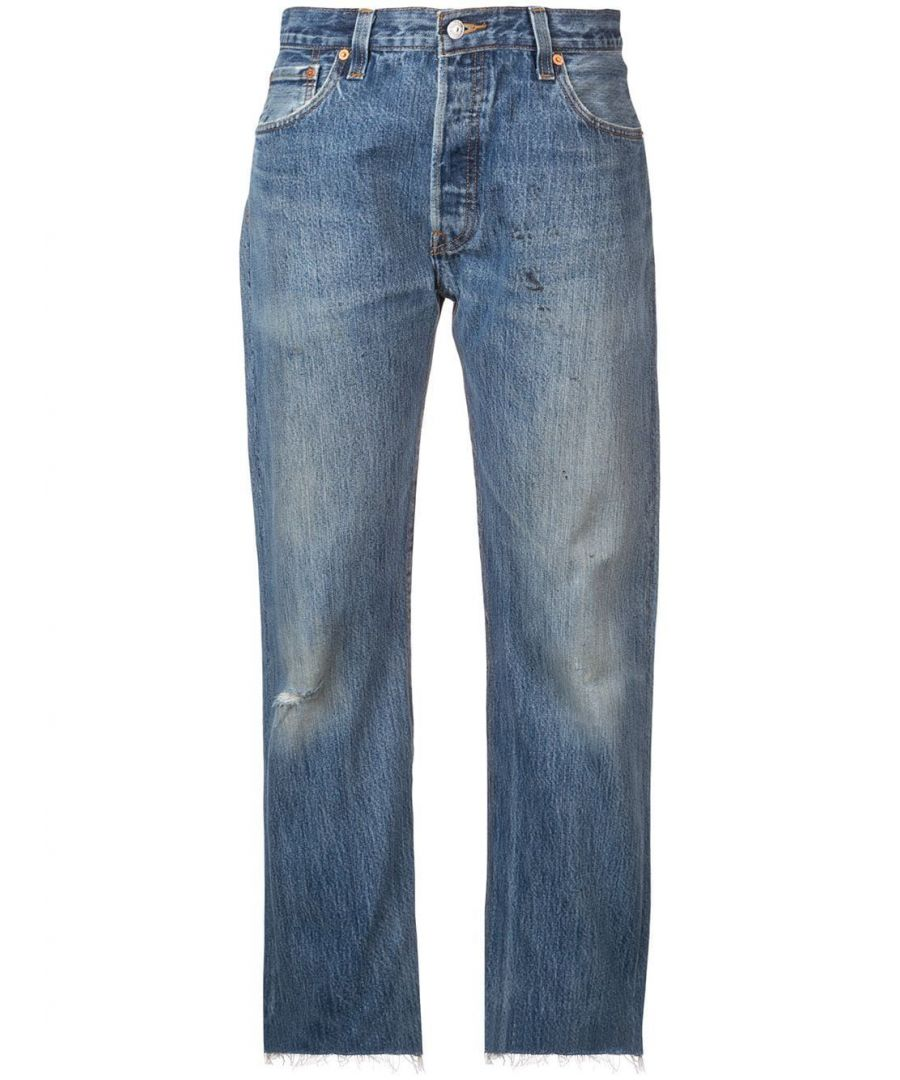 Image for RE/DONE WOMEN'S 1076STVCINDIGO BLUE COTTON JEANS