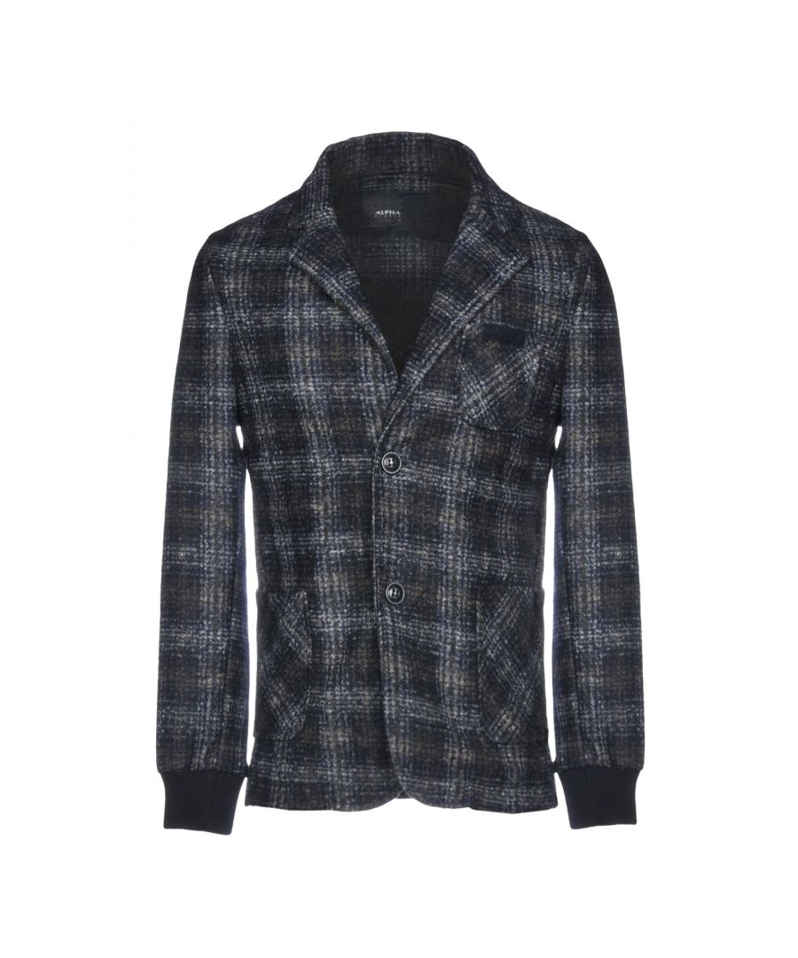 Image for Alpha Studio Dark Blue Tartan Single Breasted Jacket