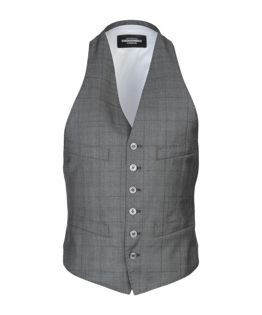 Image for Dsquared2 Grey Virgin Wool Hondstooth Waistcoat