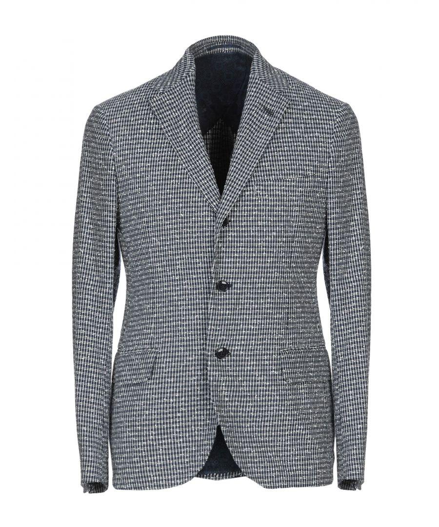 Image for Mp Massimo Piombo Dark Blue Cotton Jacquard Blazer