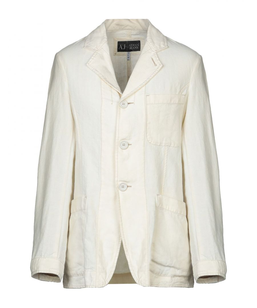 Image for Armani Jeans Ivory Hemp Single Breasted Jacket