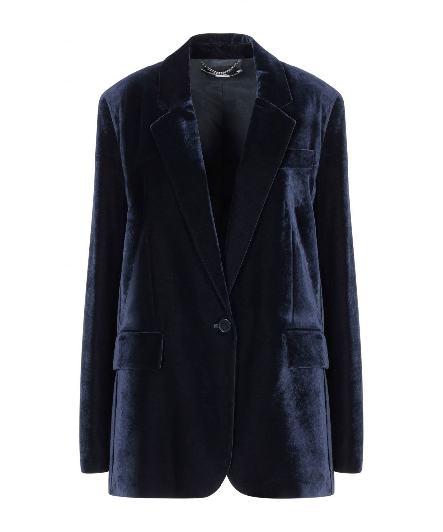Image for Stella McCartney Dark Blue Velvet Single Breasted Blazer