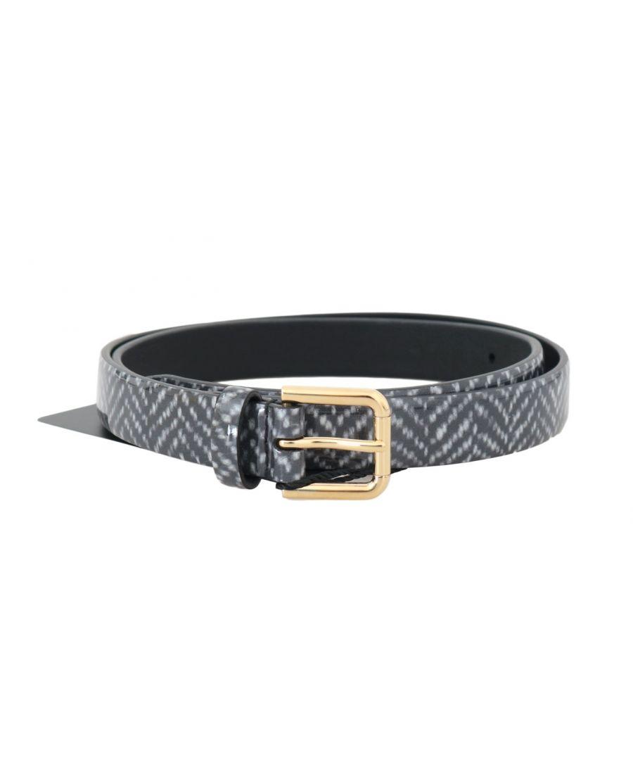 Image for Dolce & Gabbana Black White Chevron Pattern Leather Belt
