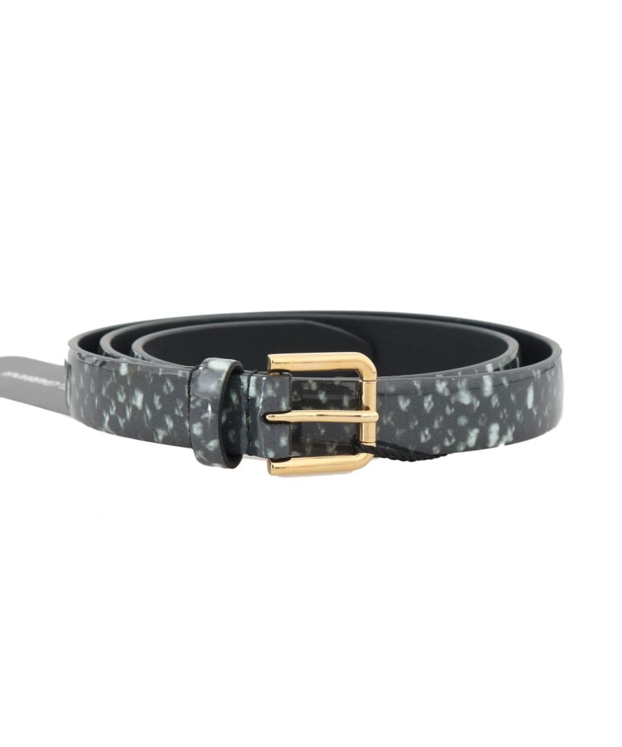 Image for Dolce & Gabbana Black White Pattern Leather Gold Buckle Belt
