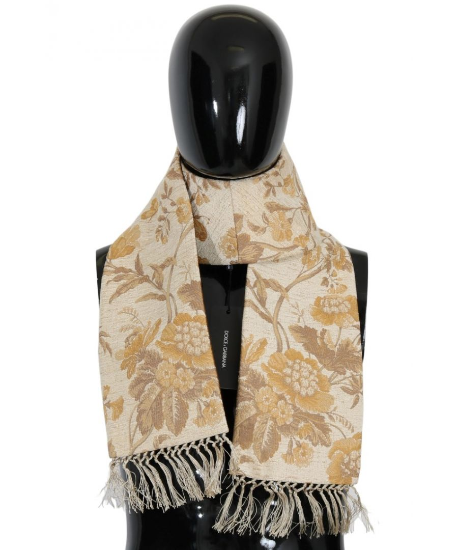 Image for Dolce & Gabbana Beige Gold Jacquard Cotton Scarf