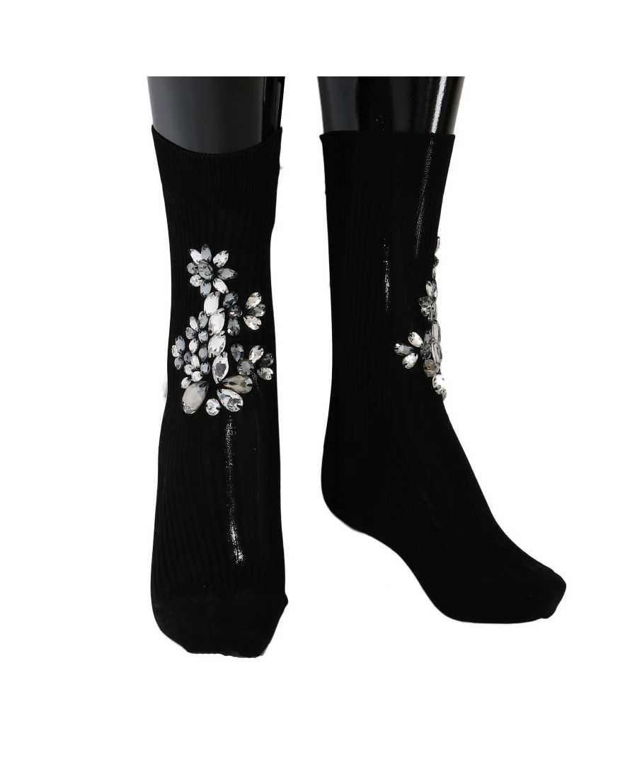 Image for Dolce & Gabbana Black Knitted Floral Clear Crystal Socks