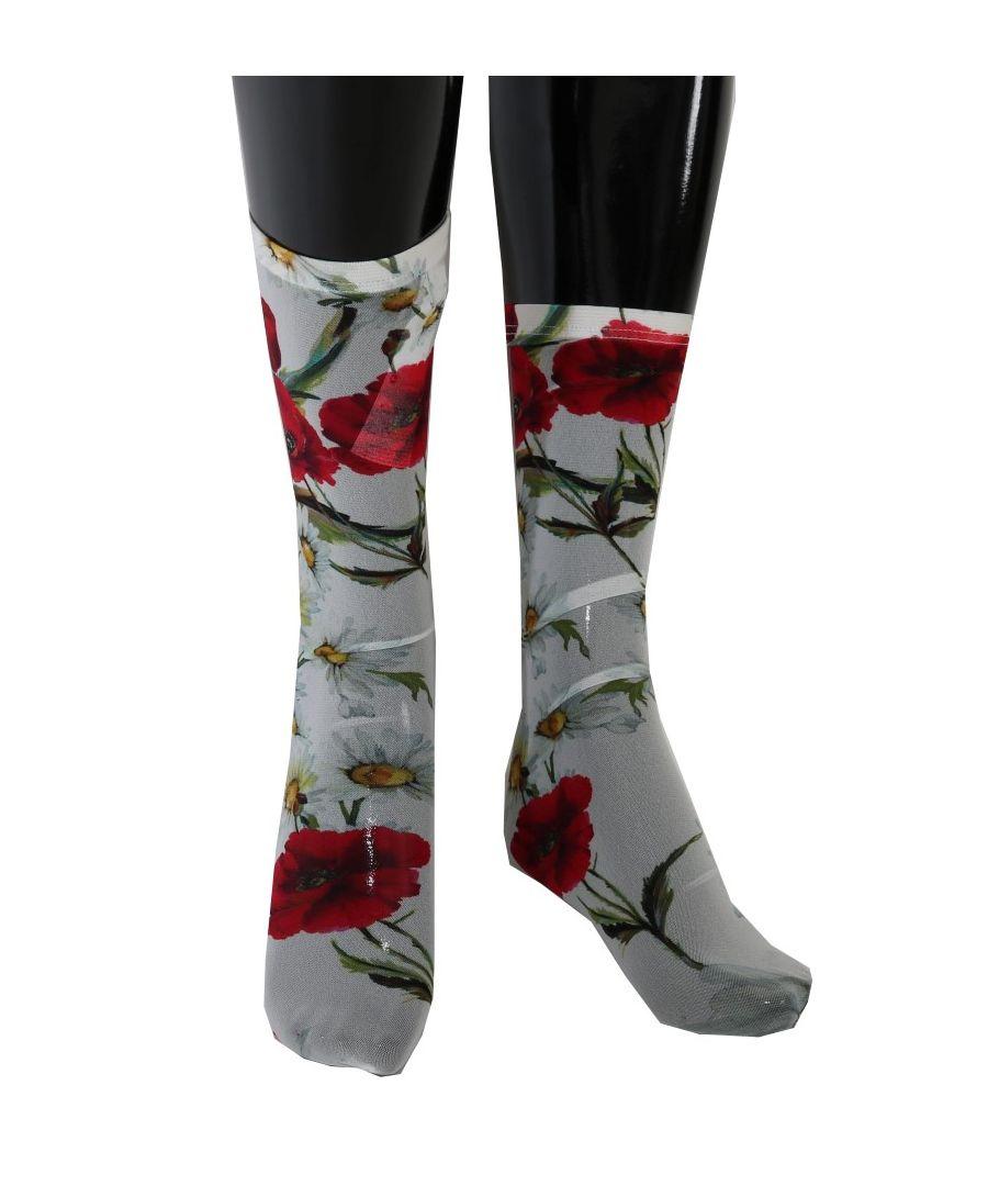 Image for Dolce & Gabbana White Floral Red Roses Nylon Socks