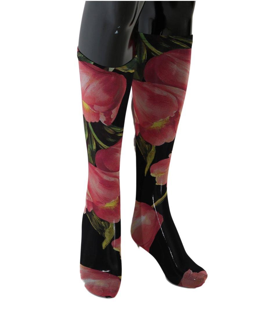 Image for Dolce & Gabbana Multicolor Floral Tulip Nylon Socks