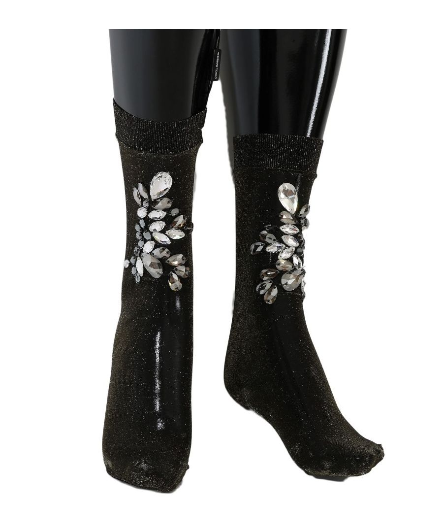 Image for Dolce & Gabbana Black Stretch Floral Clear Crystal Socks