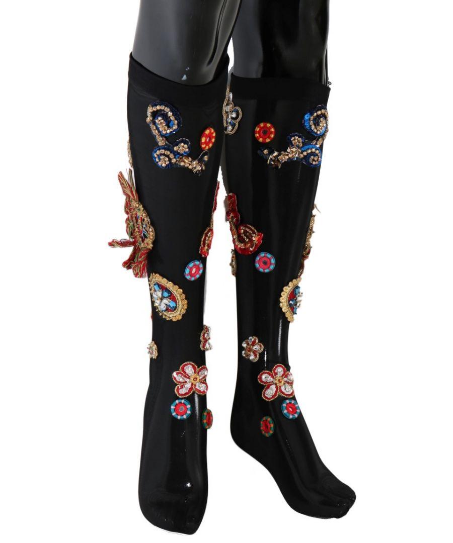 Image for Dolce & Gabbana Black Stretch Carretto Crystal Socks