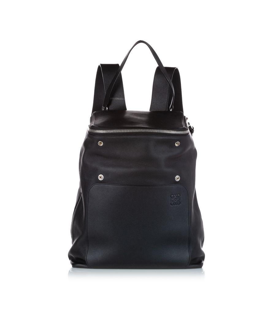 Image for Vintage Loewe Goya Leather Backpack Black
