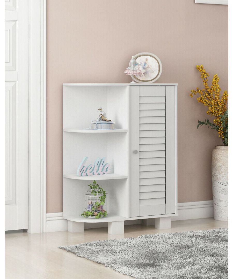 Image for Furinno Indo Storage Shelf with Louver Door Cabinet, White