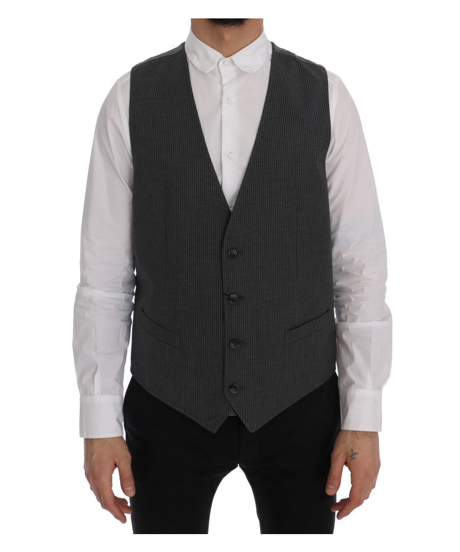Image for Dolce & Gabbana Gray STAFF Cotton Rayon Vest