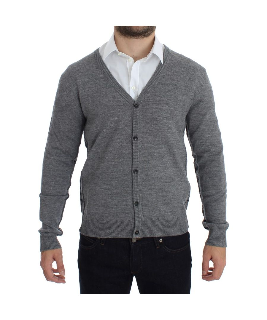 Image for Galliano Gray Wool Button Down Logo Cardigan