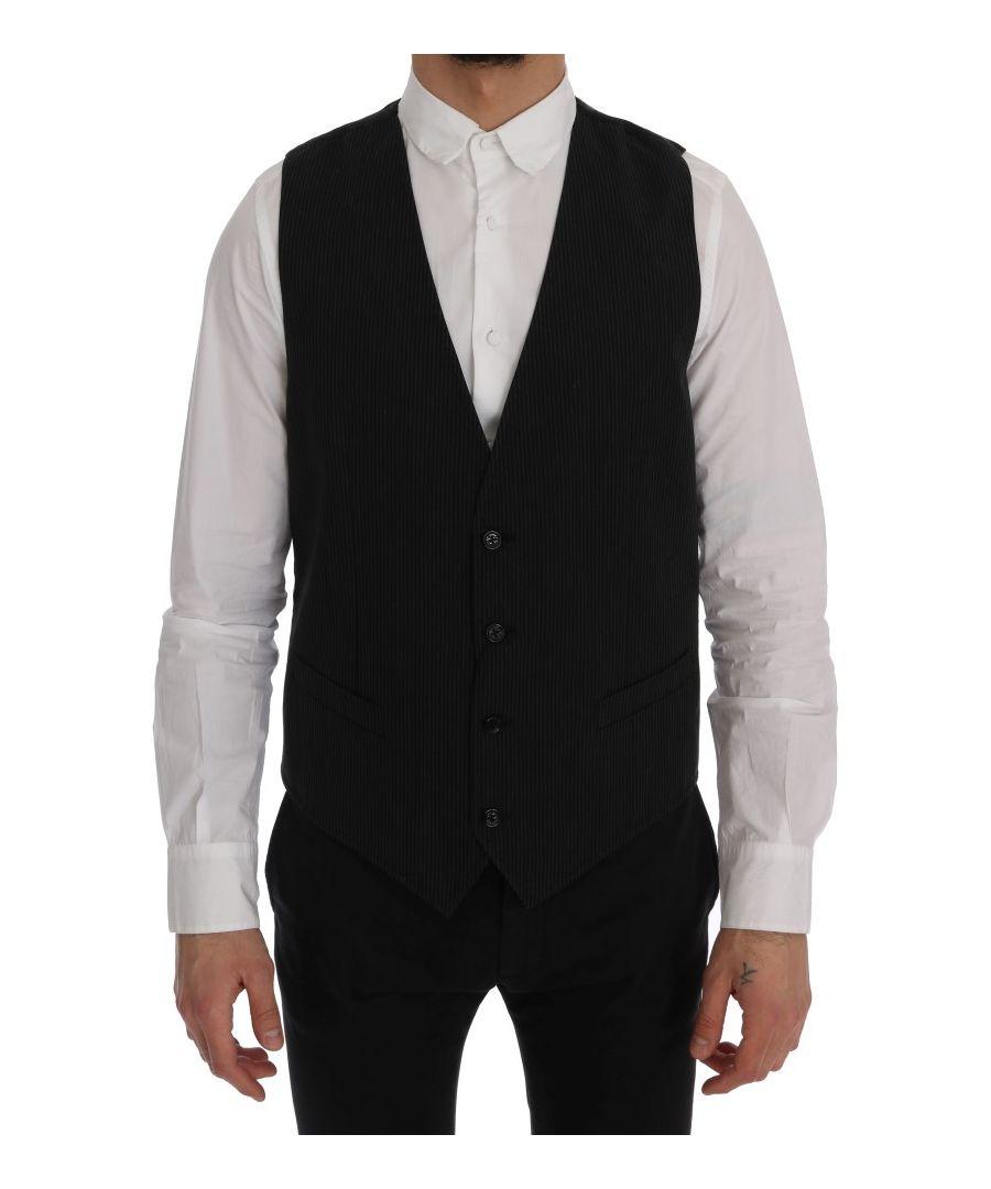 Image for Dolce & Gabbana Black STAFF Cotton Rayon Vest