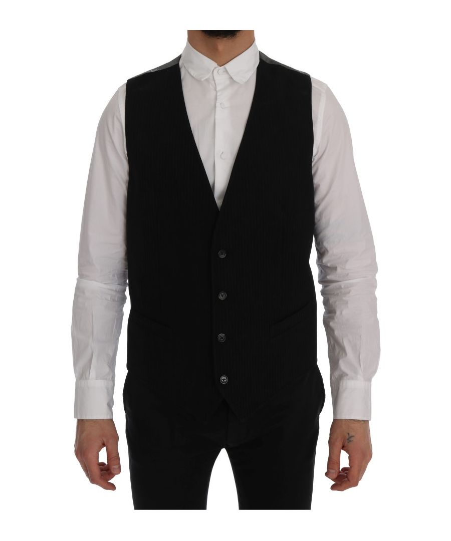 Image for Dolce & Gabbana Black STAFF Cotton Rayon Vest