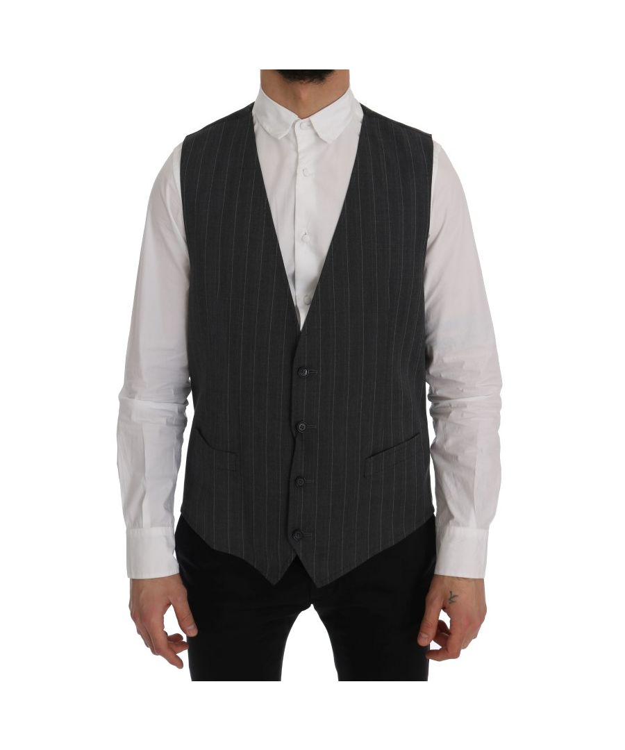 Image for Dolce & Gabbana Gray Wool Stretch Vest