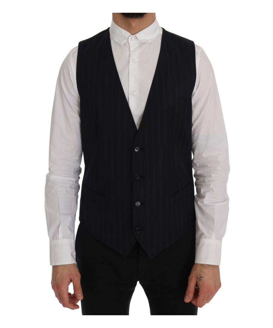 Image for Dolce & Gabbana Blue Wool Stretch Vest