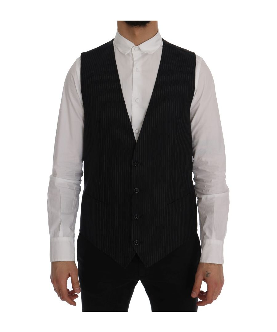 Image for Dolce & Gabbana Black Wool Stretch Vest