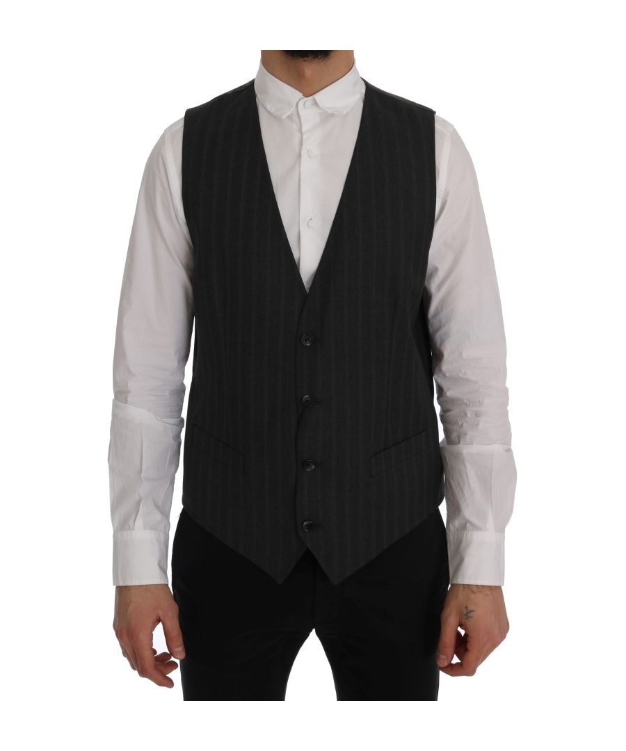 Image for Dolce & Gabbana Gray STAFF Wool Stretch Vest