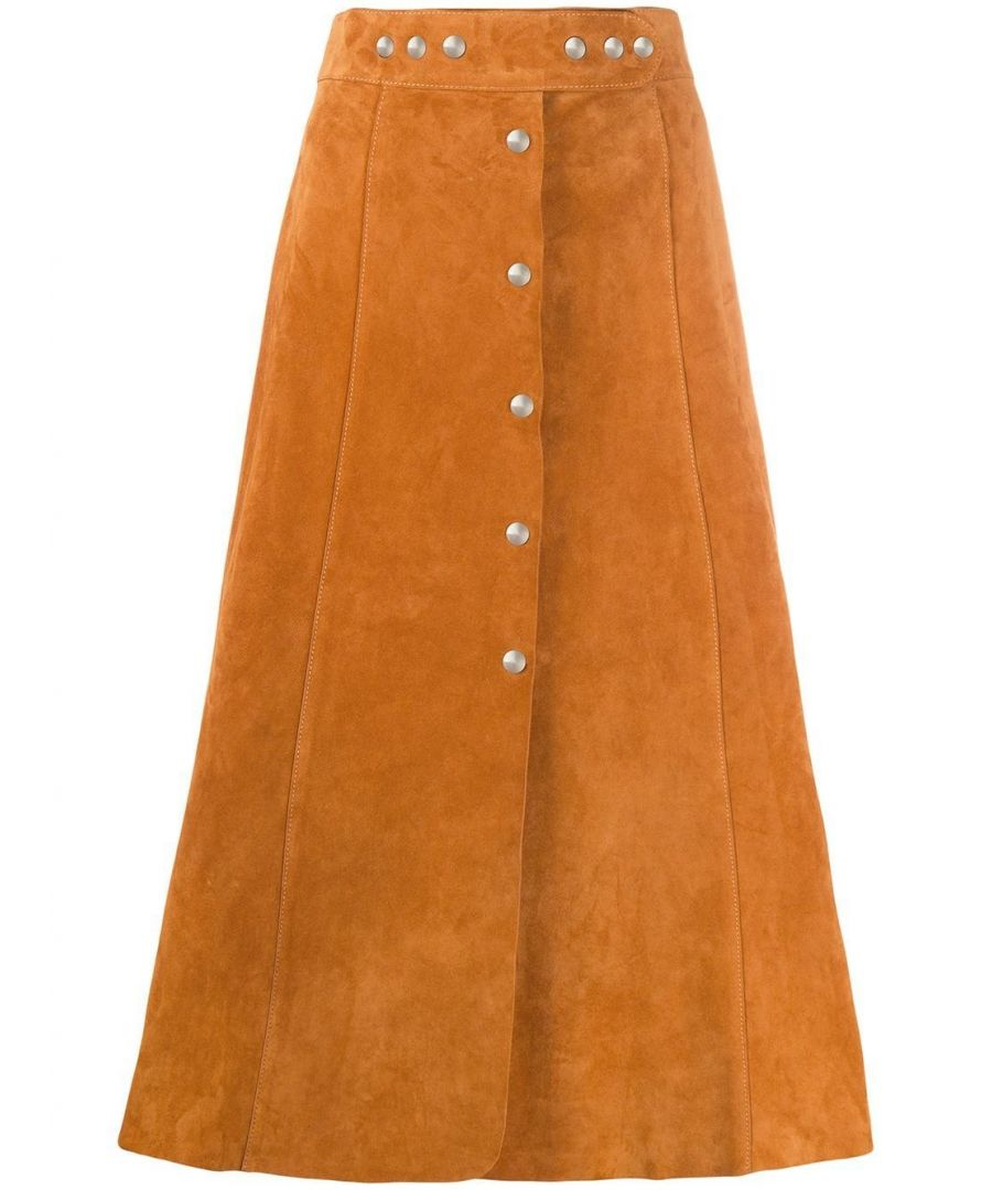 Image for PRADA WOMEN'S 51751054F0588 BROWN LEATHER SKIRT