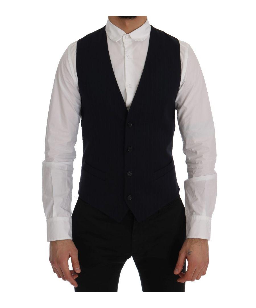 Image for Dolce & Gabbana Blue STAFF Wool Stretch Vest