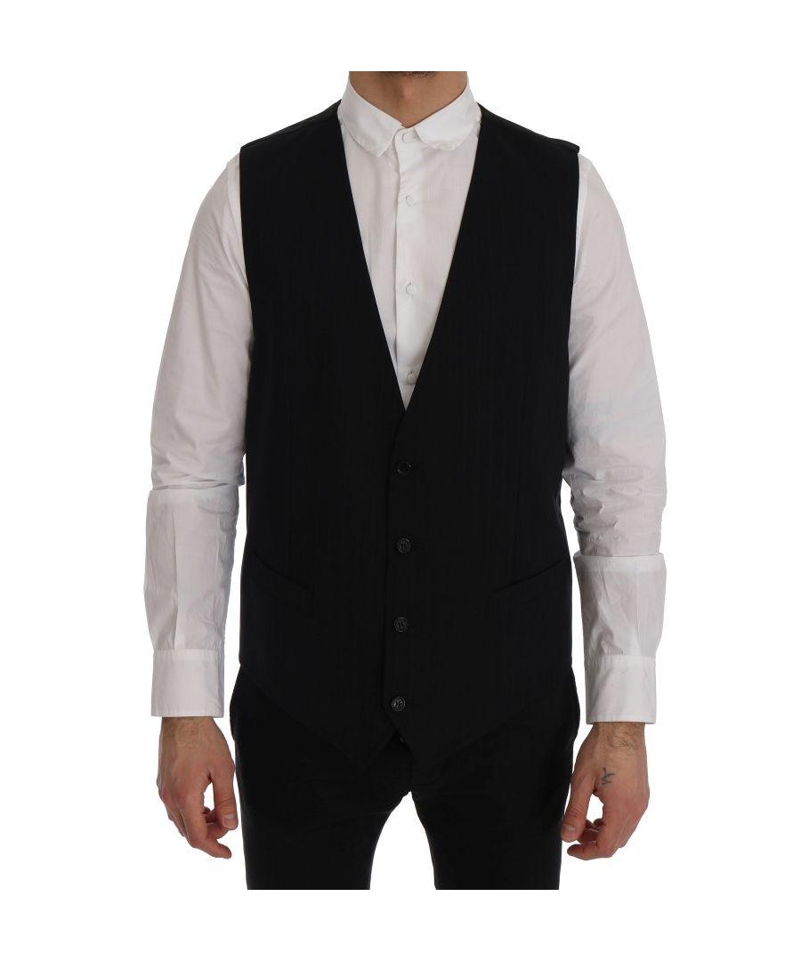 Image for Dolce & Gabbana Black STAFF Wool Stretch Vest
