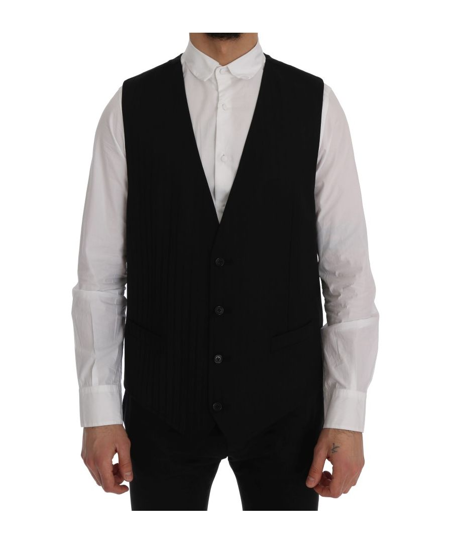 Image for Dolce & Gabbana Black STAFF Wool Stretch Vest