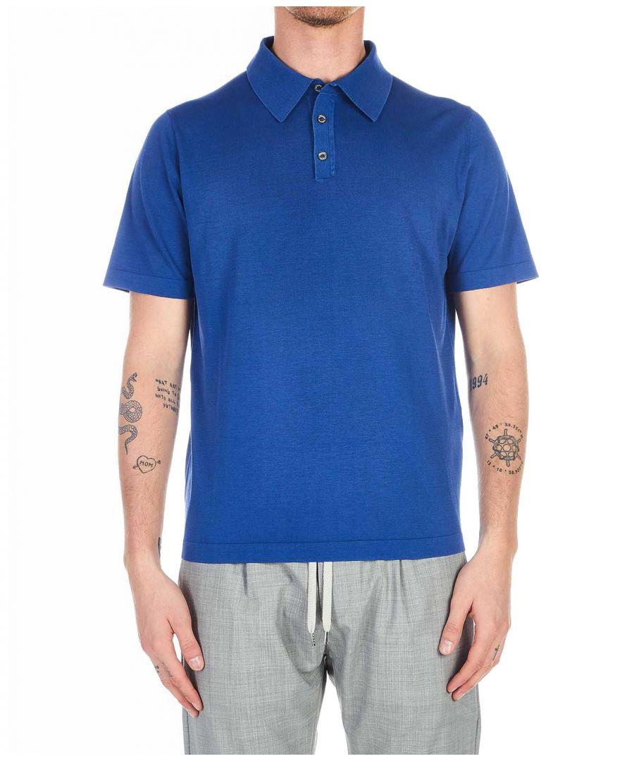 Image for BALLANTYNE MEN'S Q2W02618C4713575 BLUE COTTON POLO SHIRT