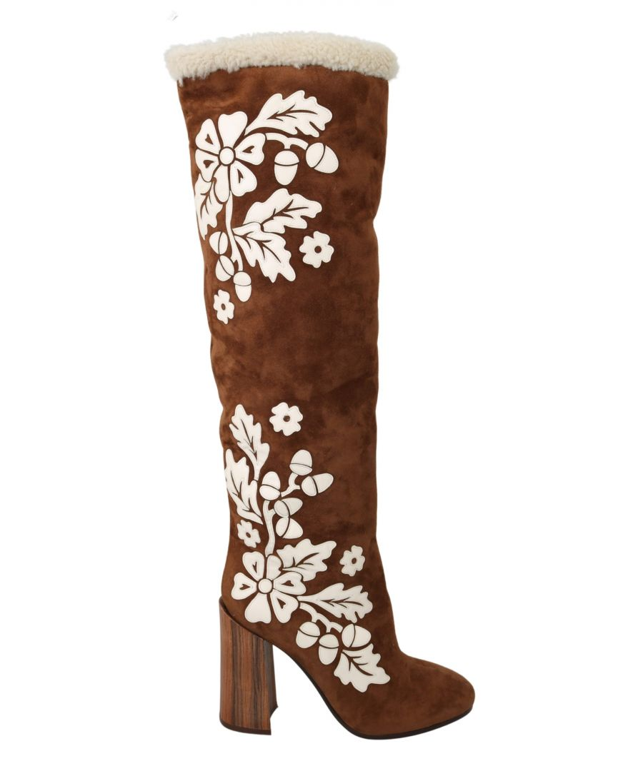 Image for Dolce & Gabbana Brown Suede Floral Knee High Boots Shoes