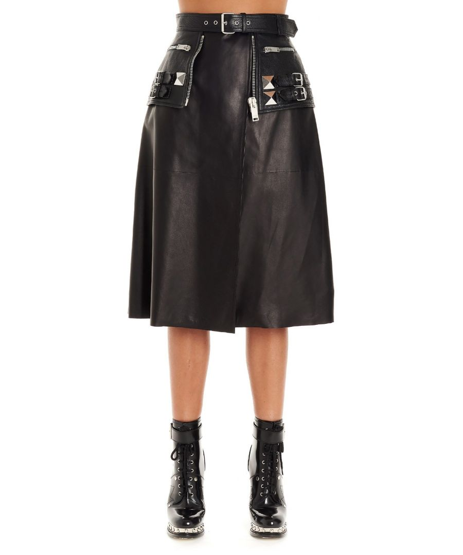 Image for ALEXANDER MCQUEEN WOMEN'S 594838Q5ACQ1038 BLACK LEATHER SKIRT
