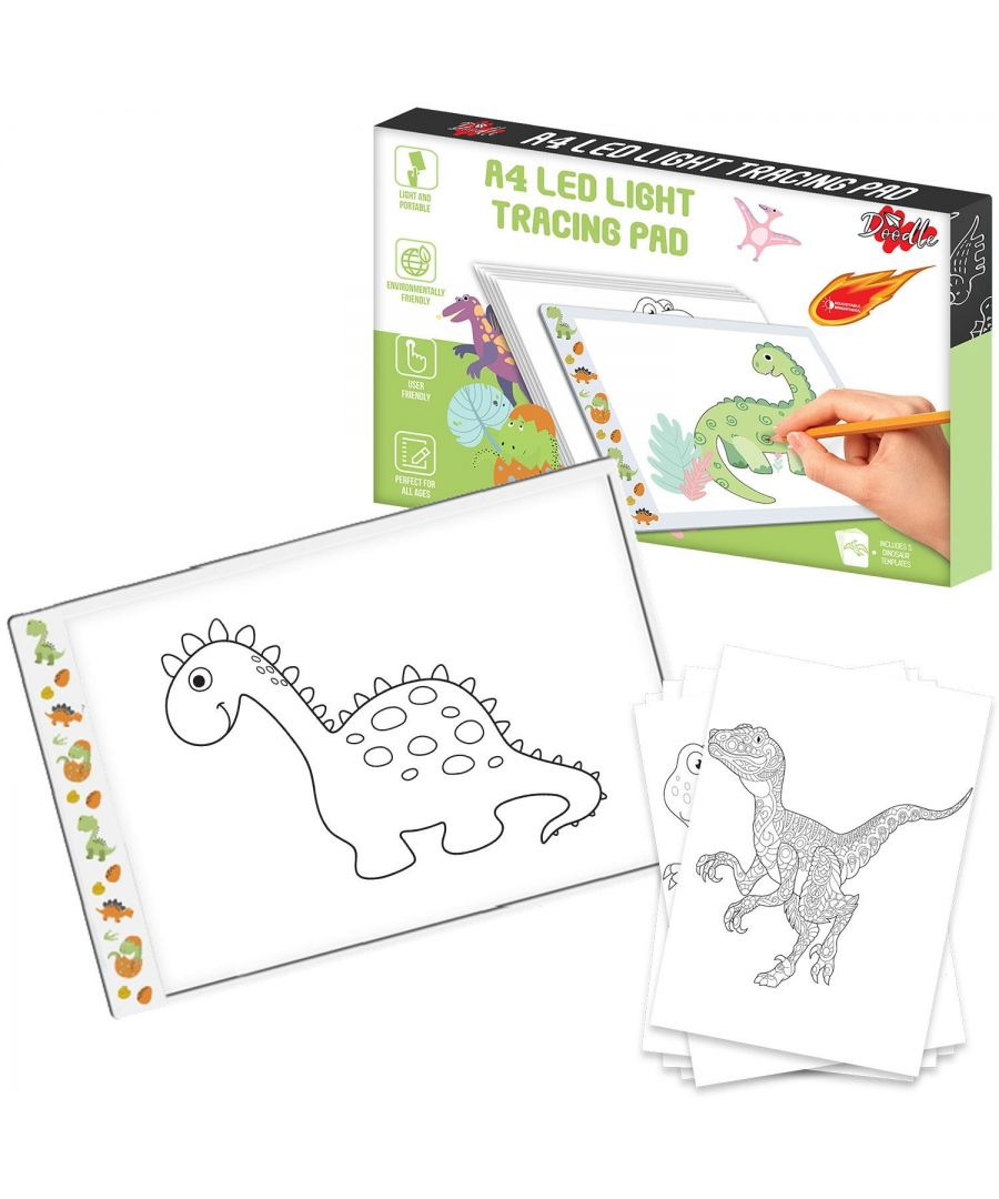 Image for Doodle A4 Ultra-Thin Portable LED Tracing Pad with USB Cable Dinosaur