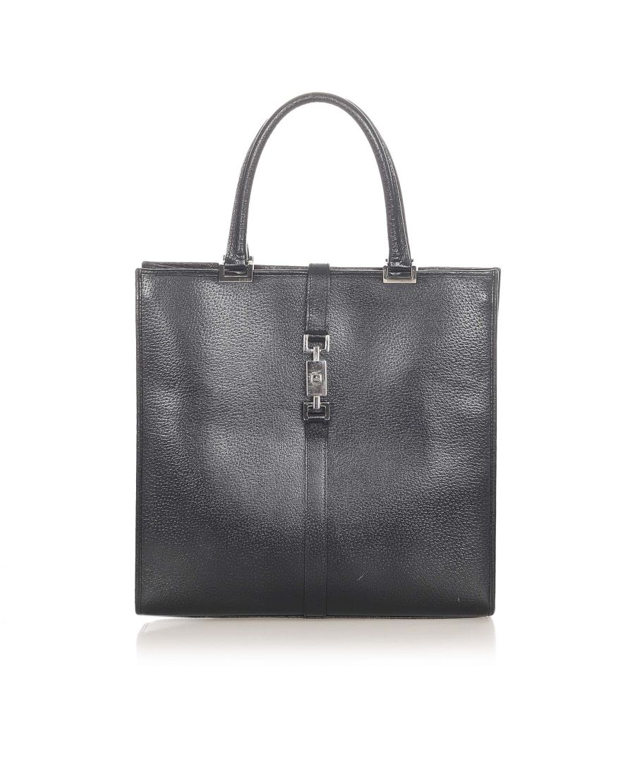 Image for Vintage Gucci Jackie Leather Tote Black