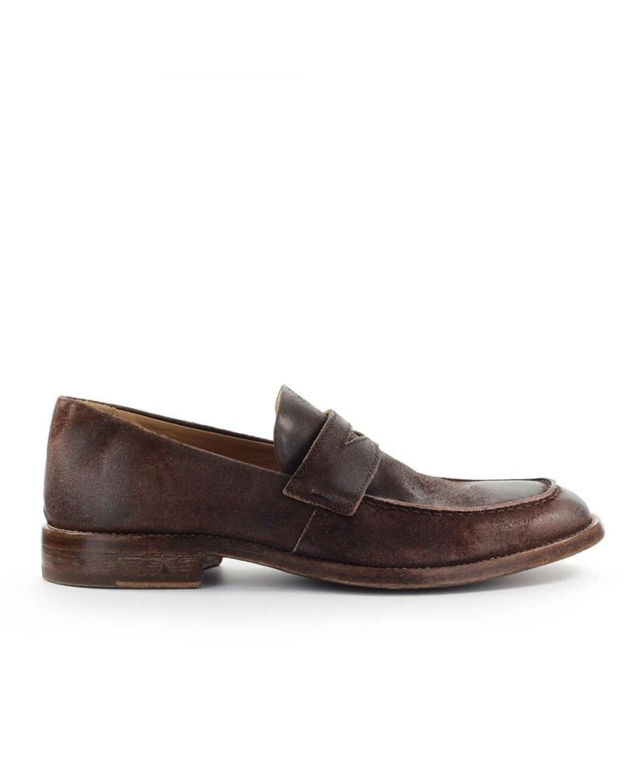 Image for MOMA MEN'S 2ES022BE BROWN LEATHER LOAFERS