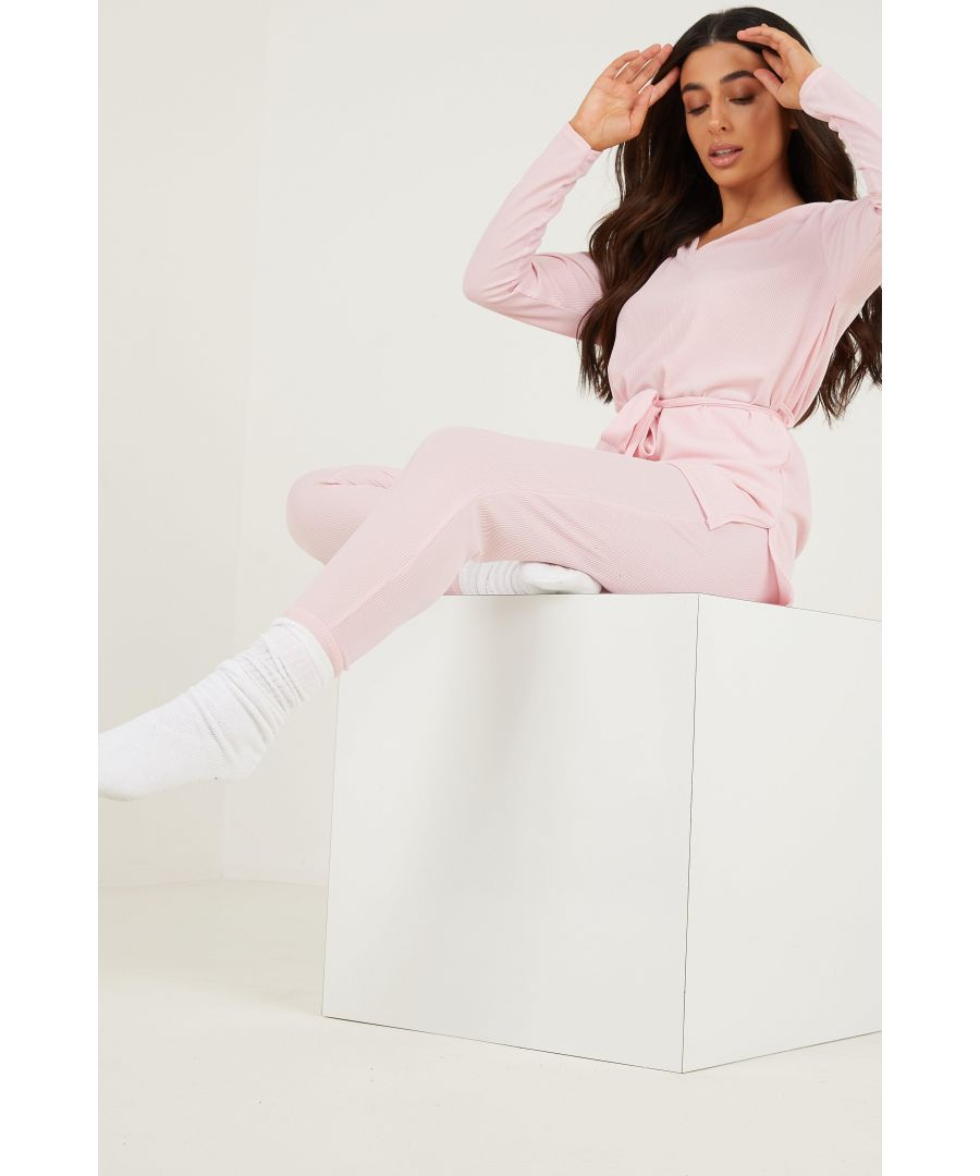 Image for Petite Pink Ribbed Trousers