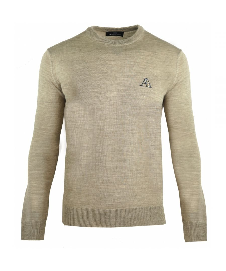 Image for Aquascutum Check Logo Beige Sweater