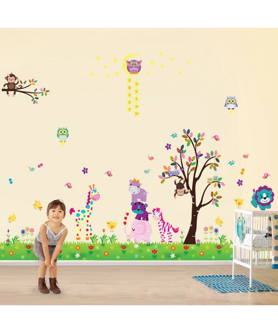 Image for Wall Art - Happy Animals + Owl Tree Star + Little Chick Grass