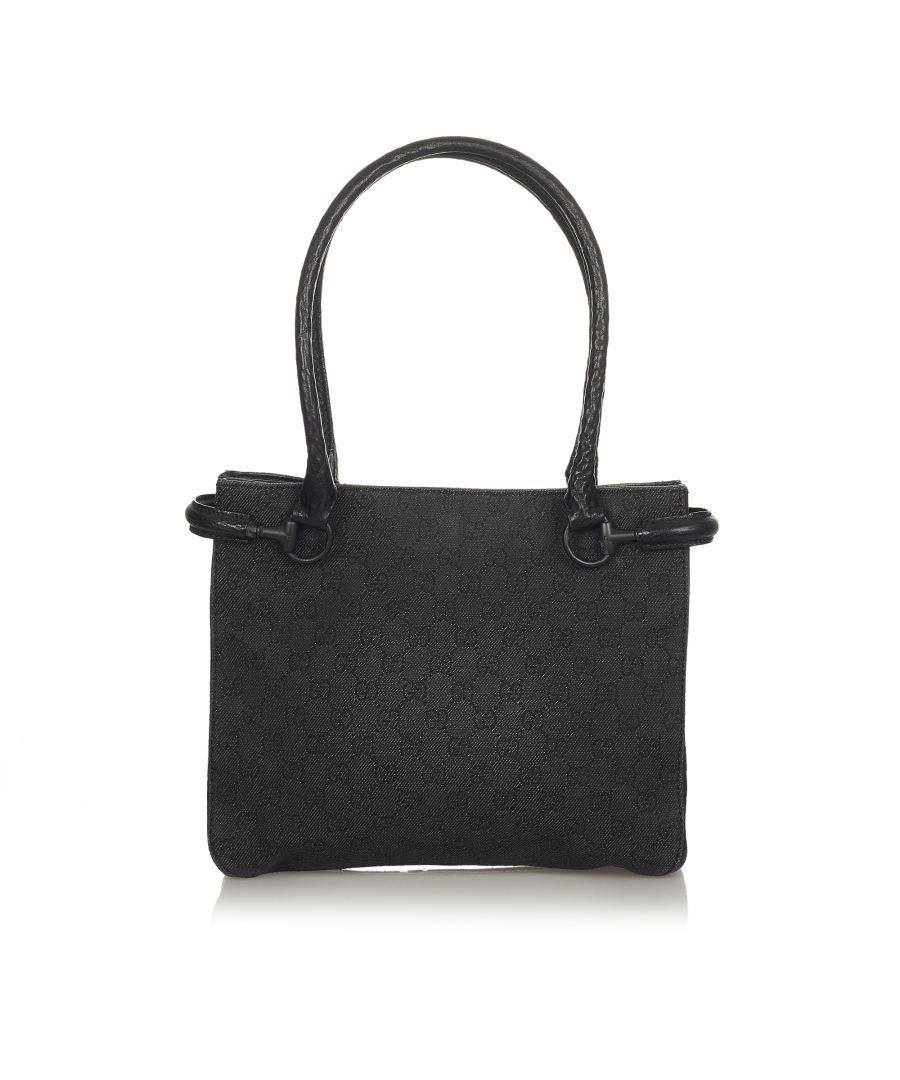 Image for Vintage Gucci Horsebit Canvas Shoulder Bag Black