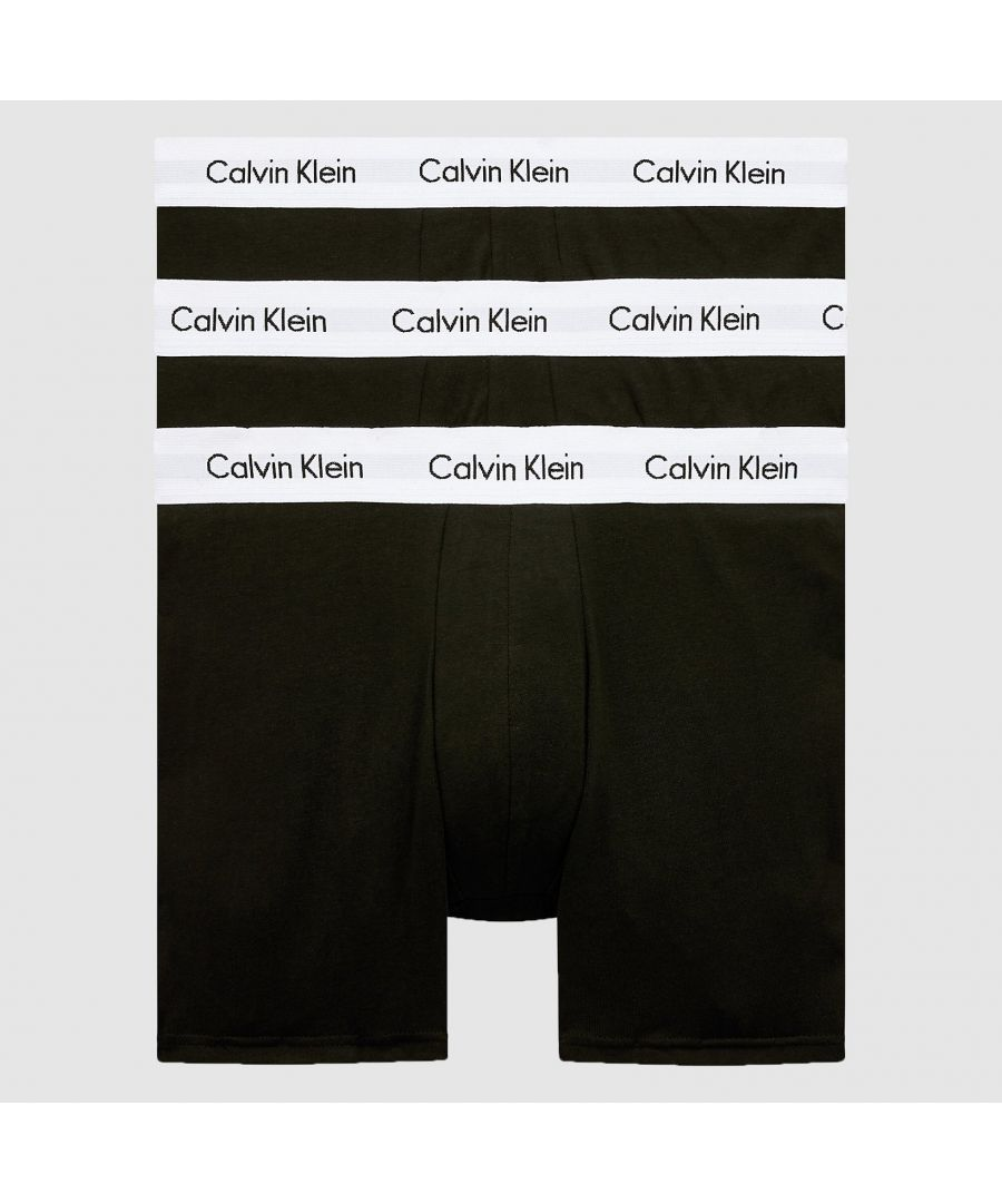 Image for Calvin Klein 3 Pack Boxer Briefs - Mid Rise - Cotton Stretch, Black