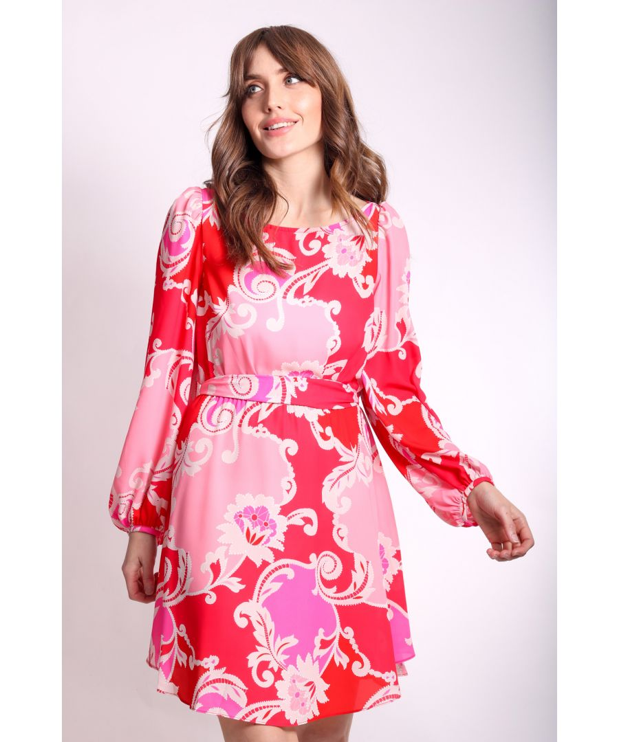 Image for Paisley Printed Mini Dress in Pink and Red