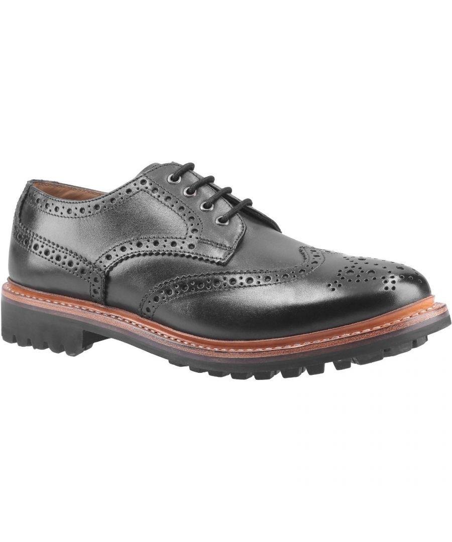 Image for Cotswold Mens Quenington Commando Lace Up Dress Leather Shoe (Black)
