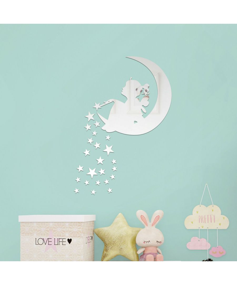 Image for Magic Tinker Bell Moon and Stars Mirror Wall Art  Self adhesive,DIY Wall Art, Wall Art Living Room, Mirror Wall Art